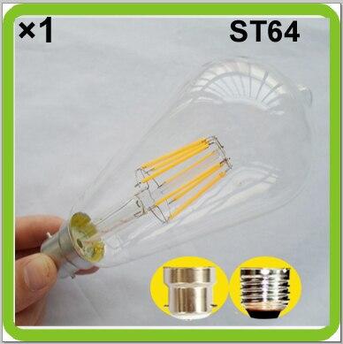 1 paquete retro Edison bombillas LED 6W 8W LED ST64 ST19 LED lámparas vintage E27 tornillo B22 bayoneta COB bombilla de filamento LED bombilla LED