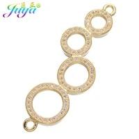 juya diy bracelets earrings making findings supplies micro pave zircon 2 loops circles flower animal charm connectors material