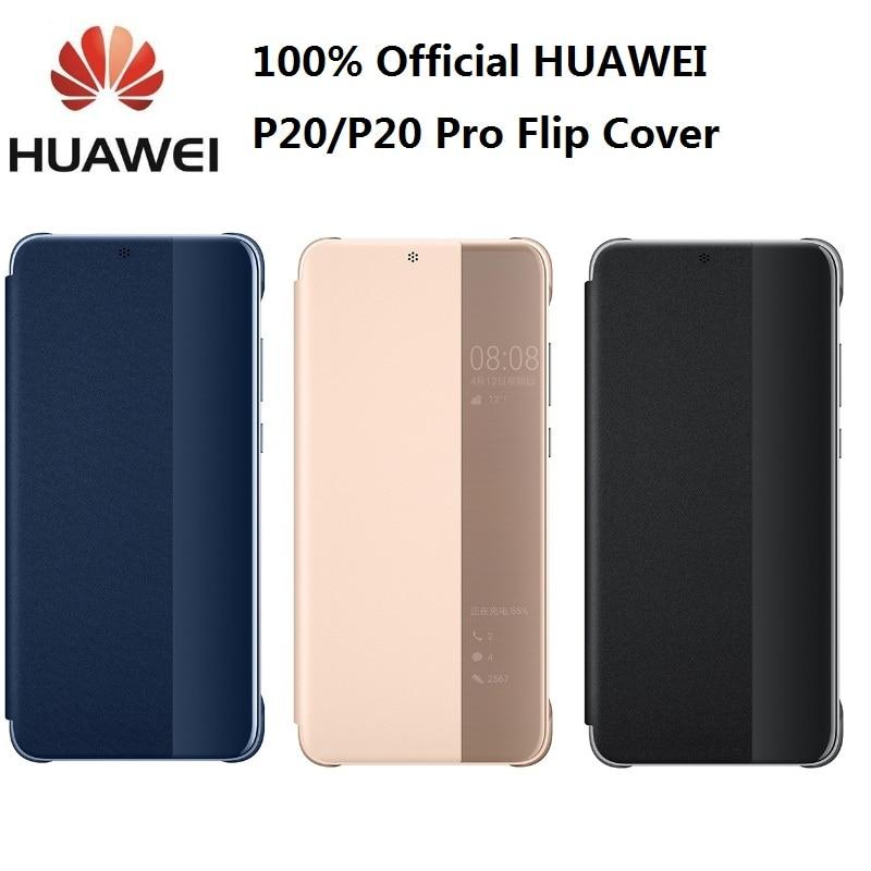 100% Original Huawei P20 Pro funda despertador/Chapado en sueño espejo ventana Flip Cover para Huawei P20 funda Smart View Case