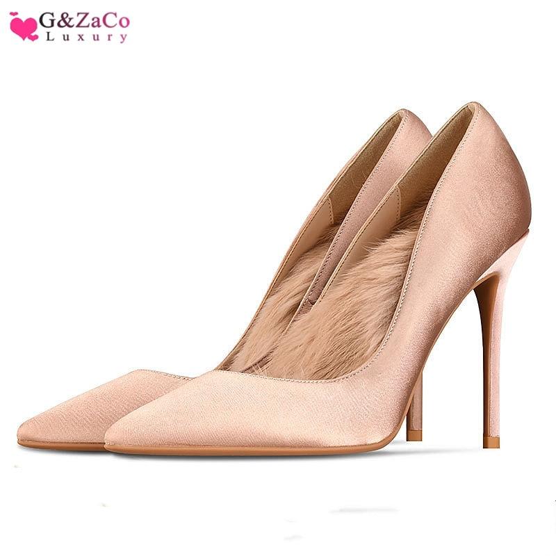 New High Heels Shoes women Silk pumps Satin Rabbit Fur Warm Fashion Thin Heeled female  High-heeled Shoes