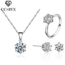 CC classique ensembles de bijoux pour les femmes Simple cubique zircon rond pierre amoureux 3 pièces ensemble de mariée mariage fiançailles bijoux CCAS201
