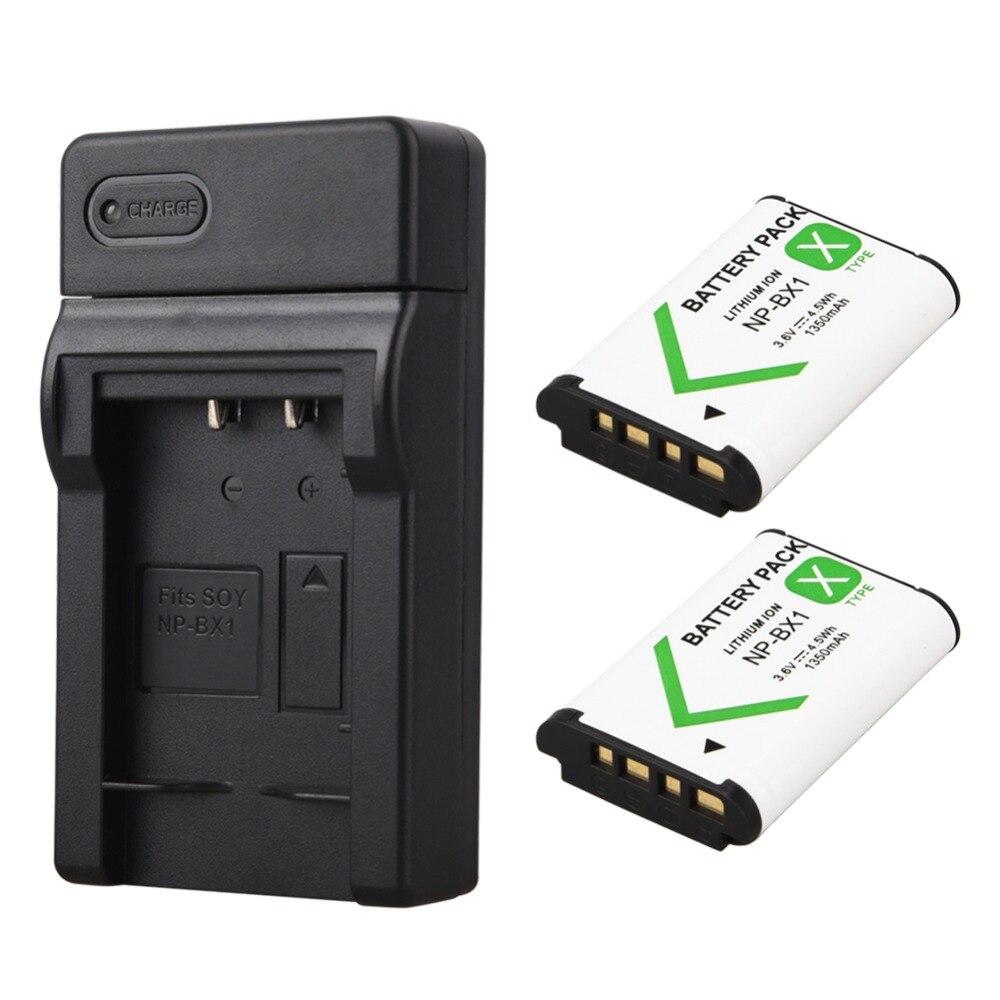 2 uds 1350mAh NP-BX1 NP BX1 batería + cargador USB para Sony DSC RX1 RX100 M3 M2 RX1R GWP88 PJ240E AS15 WX350 WX300 HX300 HX400