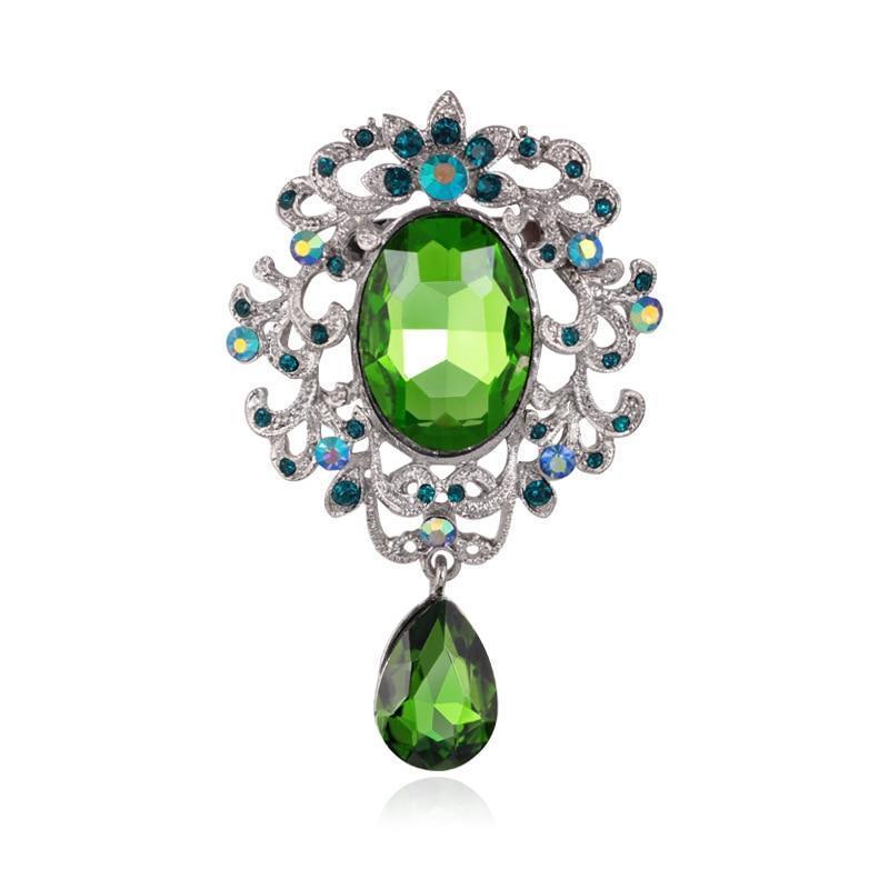 Broche de gota de agua de cristal azul para mujer, joyería de moda, broche de diamantes de imitación de cristal, Pins, accesorio para bufandas de 7,3 cm