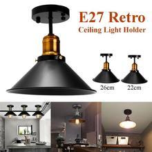 E27 Ceiling Lights Loft Vintage Round Retro Ceiling Lamp Industrial Design Edison Bulb Home Bar Cafe Shop Lighting Fixture