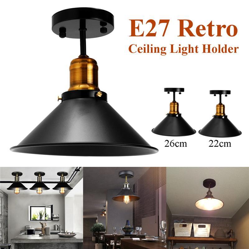 Lámpara de techo E27, lámpara de techo Retro redonda Vintage, Bombilla Edison de diseño Industrial, hogar, Bar, cafetería, tienda, accesorio de iluminación