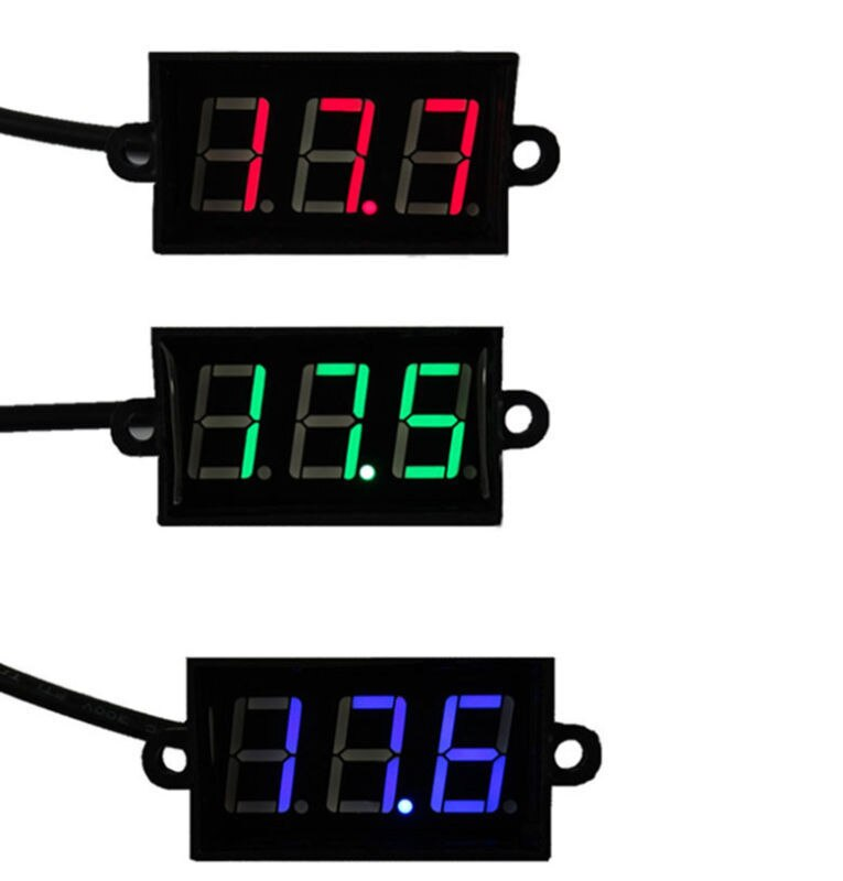 Voltímetro Digital impermeable DC 0 ~ 100V pantalla LED roja medidor de voltaje DC 12V 24V voltímetro para coche/motocicleta/batería/e-bike