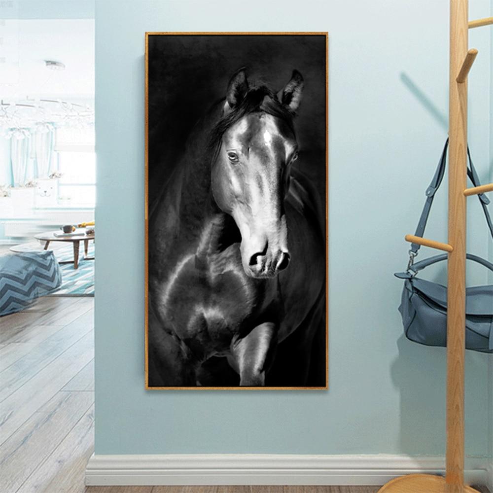 Lienzo pintura caballo oscuro decoración de la pared impresión cuadro de pared para pared de salón decoración artística carteles de animales e impresiones