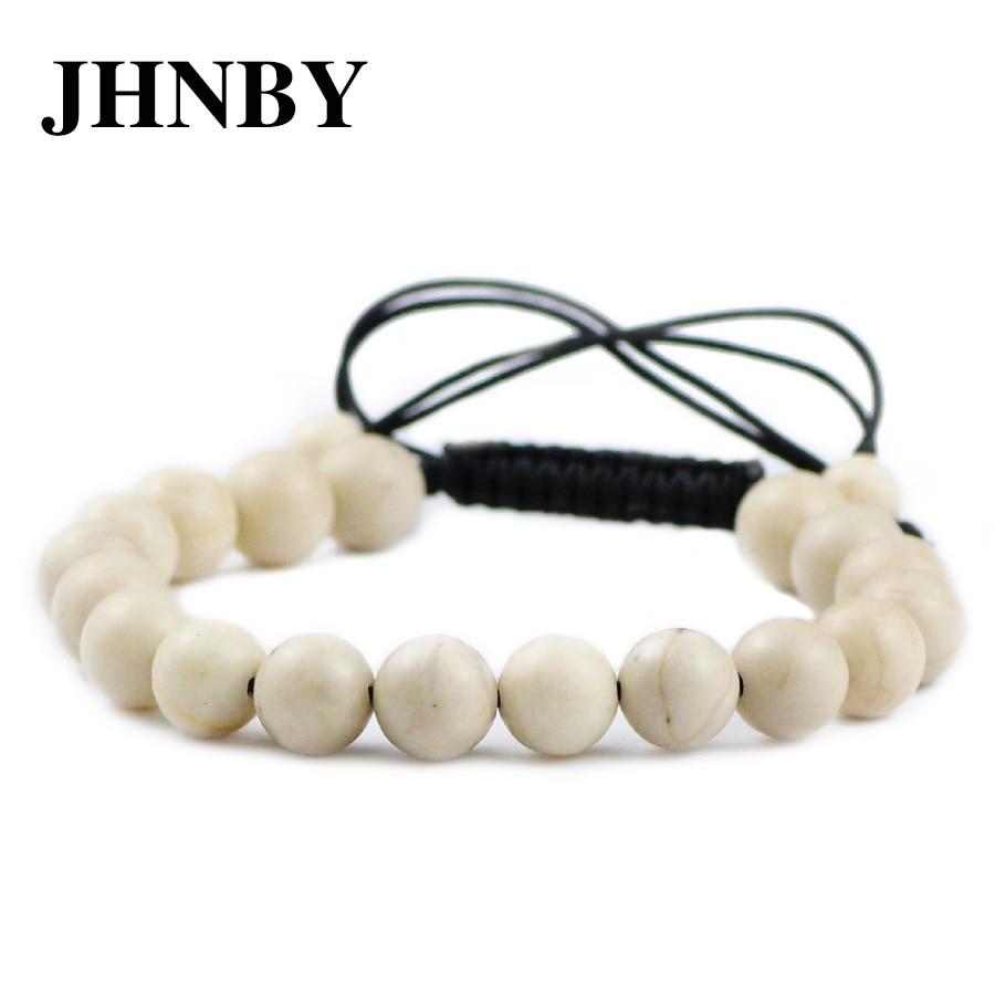 Jhnby fósseis antigos encantos pulseira de pedra natural 6/8/10mm trançado/elástico corda pulseira moda para homens feminino grânulo jóias presente