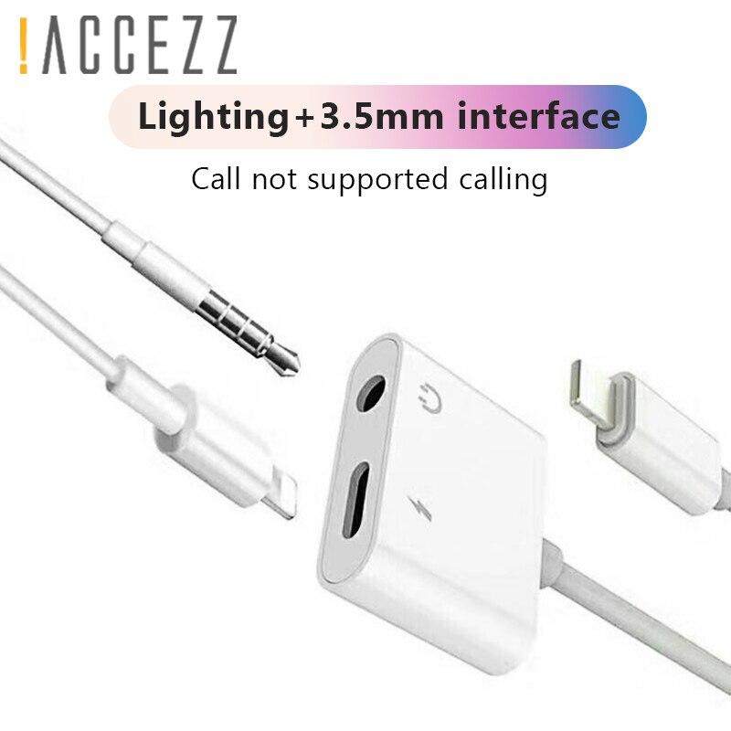 ! Accezz 2 em 1 carga adaptador do fone de ouvido para o iphone x xs max xr 7 8 plus 3.5mm jack aux carregador áudio escuta conector divisor