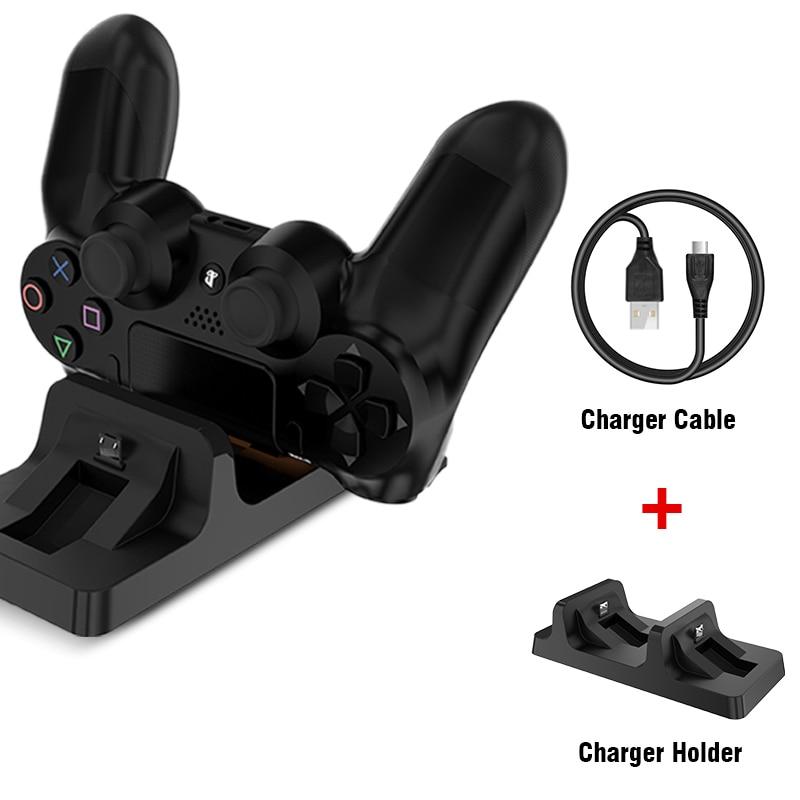 Novedoso pack de base de carga con USB doble estación soporte para PS4 juego de PlayStation controlador de cargador de cuna soporte para PS 4
