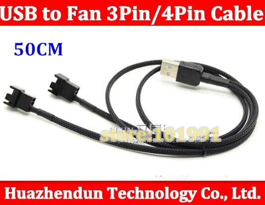 1 pcs USB A macho para Dual Fan 3pin 3-Pin/4-Pin Cabo Adaptador de pinos com rede para 5 V 50 CM Frete grátis