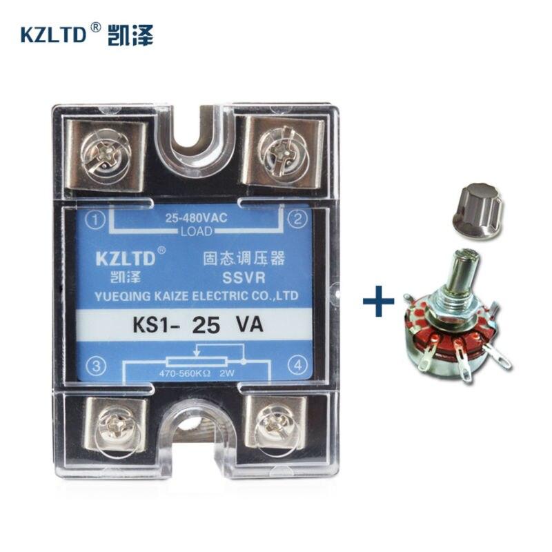 SSR-25VA AC 24-380 V Verstelbare Hoogspanning Solid State Relais 25A Eenfase Voltage Regulator + Gratis Potentiometer * 1 PC