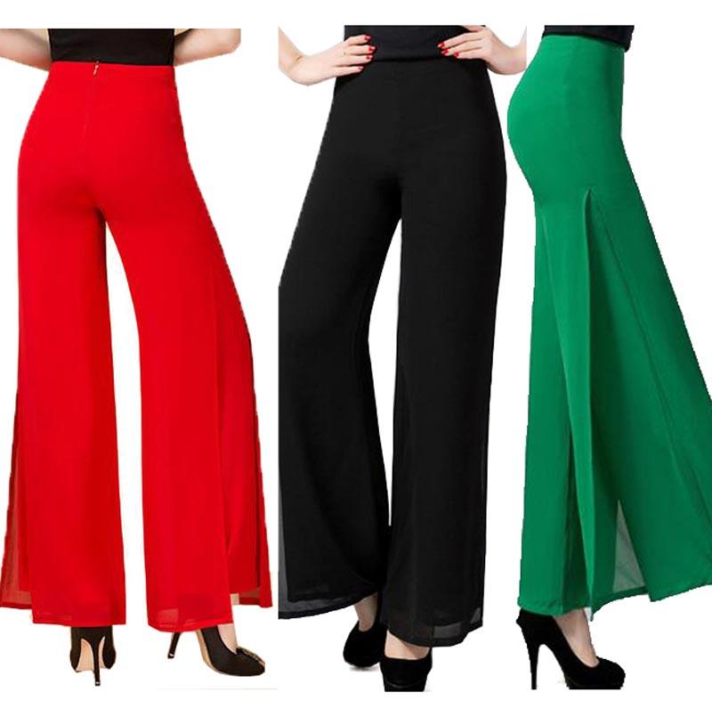 2016 Summer High Quality Fashion OL Temperament Women Chiffon Wide Leg Pants Plus Size S - 4XL Black White Red Trousers pants