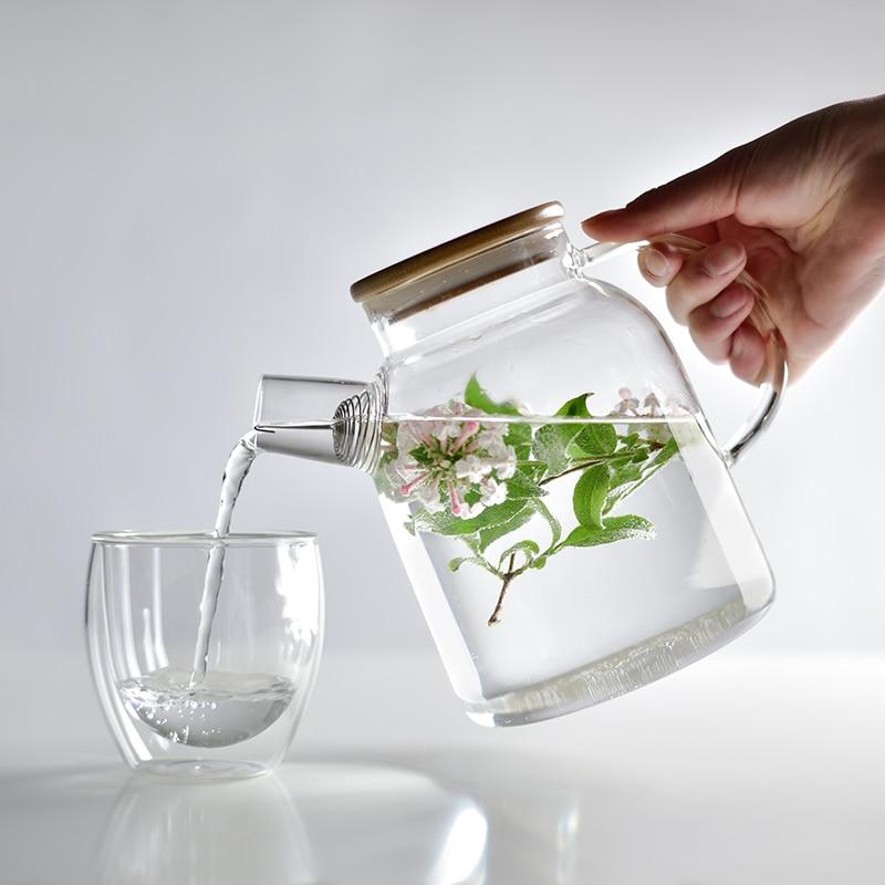Botella de agua fría de cristal transparente de 1800 ml, hervidor de gran capacidad para frío, tetera de flores de alta temperatura, regalo de té, envío gratis