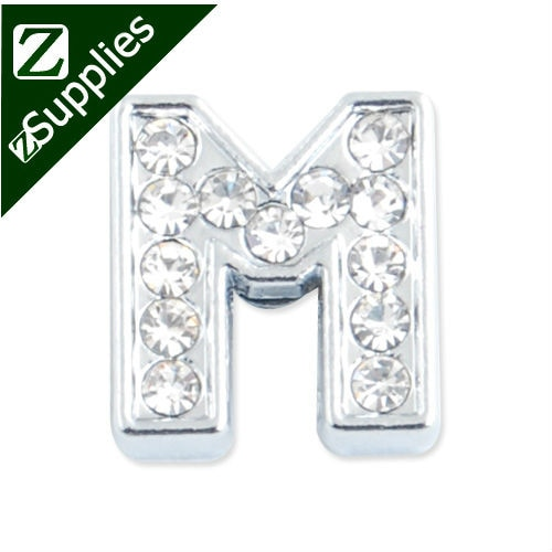 "12.5*11.5*5 MM Clear Crystal Rhinestone Letter ""M"" Slider Charm Beads,Silver Plated,slider charms, bracelets Letter"