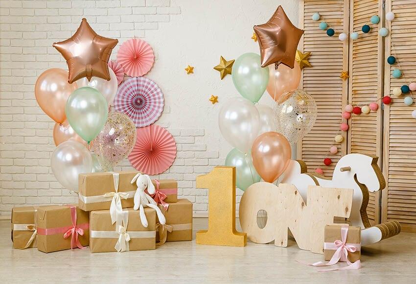 Виниловый фон для фотосъемки с воздушными шарами, один день рождения, украшение для вечеринки, фон для фотосъемки, студийный g-1156