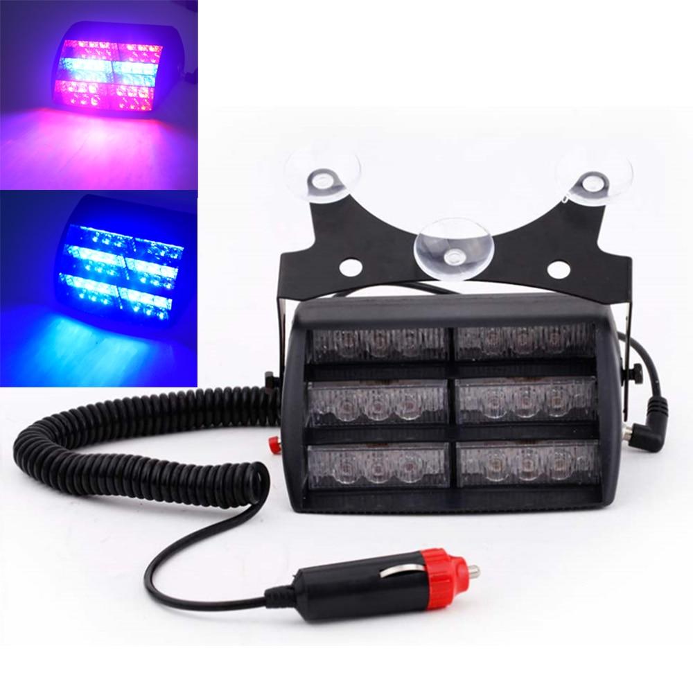 18 LED Red/Blue Car Police Strobe Flash Light Three layers Strobe light Dash Emergency Warning 3 Flashing Fog Lights 4 Style