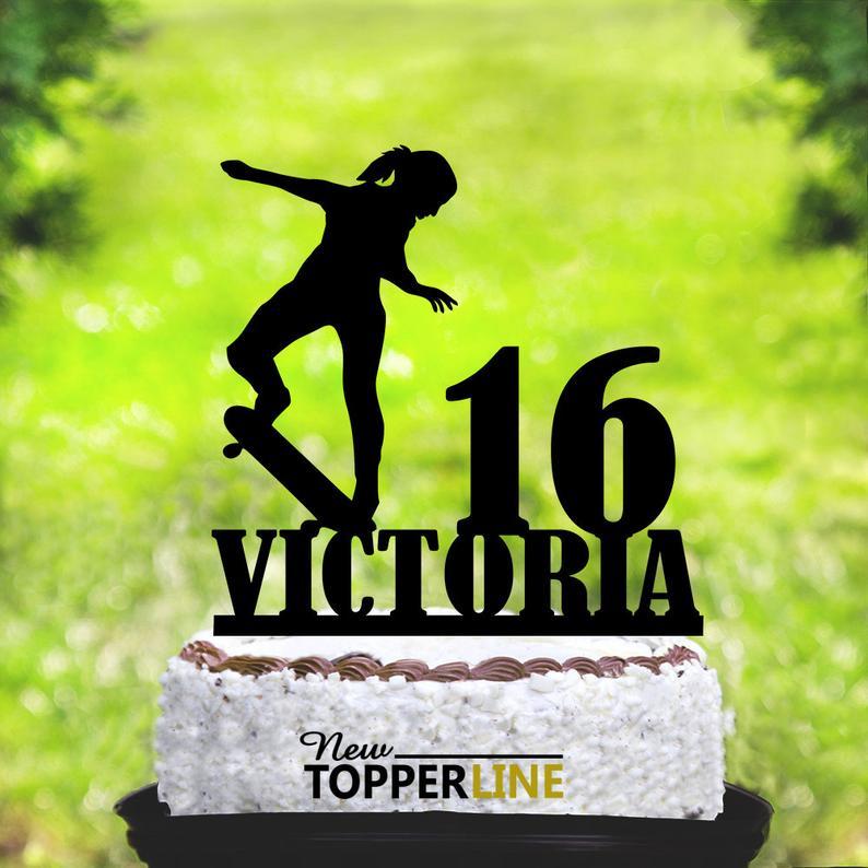 Skaterboard masculino, Topper de la torta, Topper personalizado de la torta del monopatín, Topper de la torta del monopatín, trucos del patinador, deporte extremo