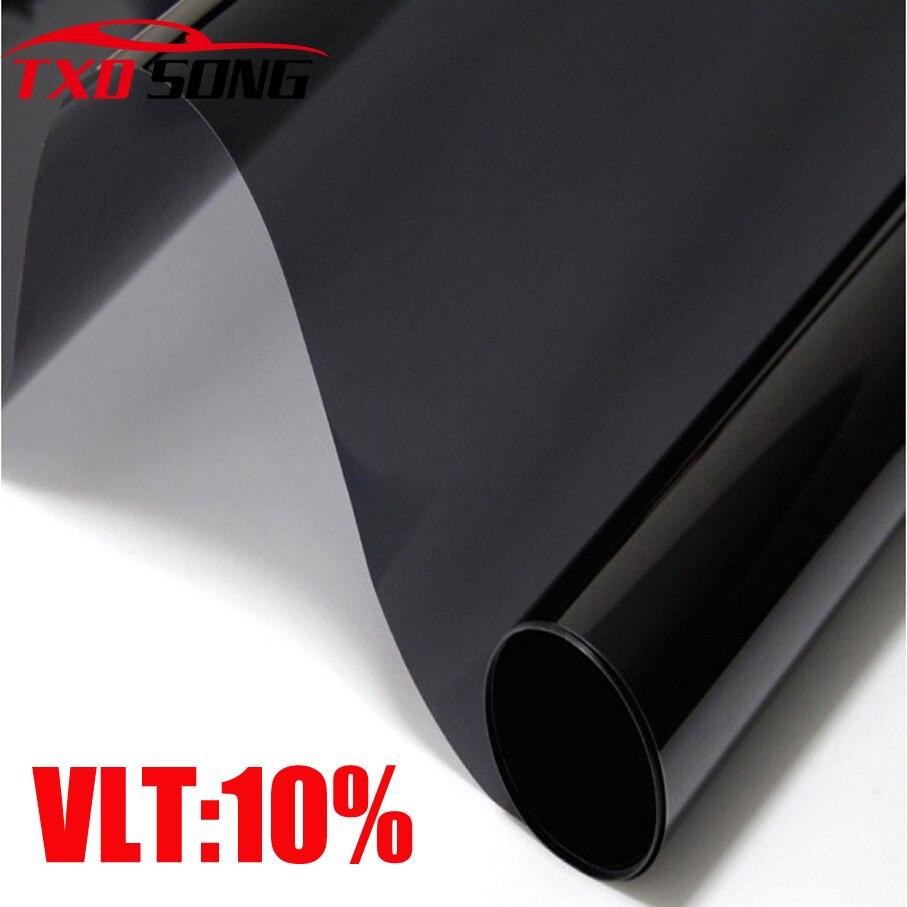 50CM X 300 CM/LOT Schwarz 10% Hohe qualität Schwarz seite fenster solar film FÜR fenster haus solar dark Schwarz Auto Fenster Tönung Film
