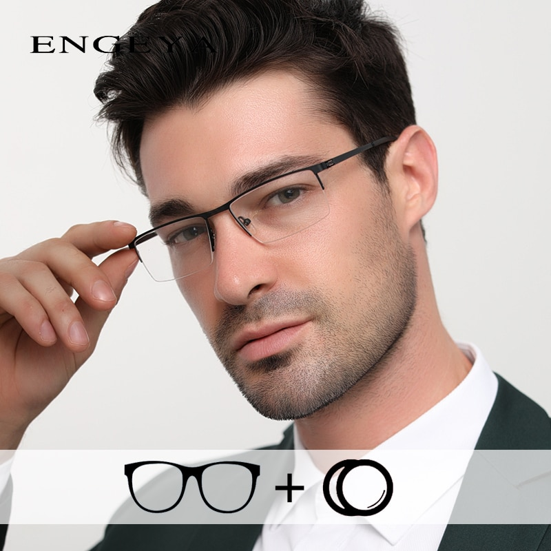 Alloy Glasses Men Clear Half Eyewear Fashion Transparent Optical Prescription Eye Glasses for Comput