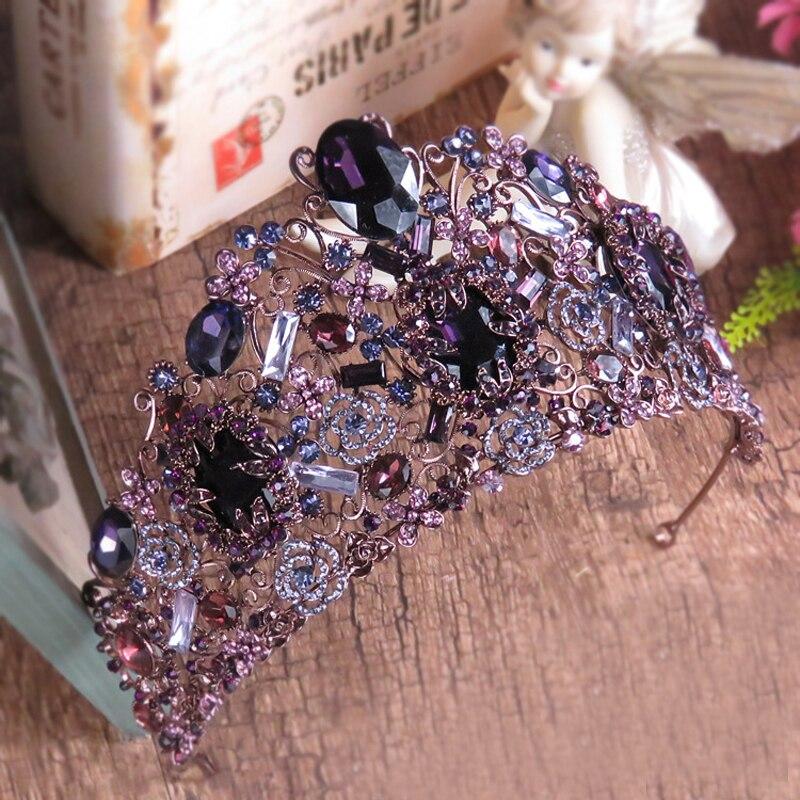 Большая винтажная эксклюзивная свадебная диадема, диадема с кристаллами фиолетового цвета