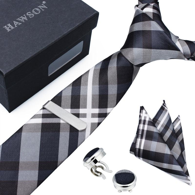 HAWSON, nueva corbata multicolor para hombre, envío con alfiler de corbata, bolsillo cuadrado y cubierta de botón, gemelos en caja de regalo para boda