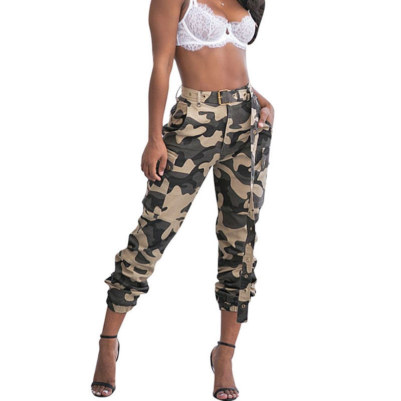 Frauen Drucken Military Camouflage Hosen Harem Hosen Pantalon Femme Hosen Ankle-Länge Jogger Jogginghose Streetwear Camo Hosen