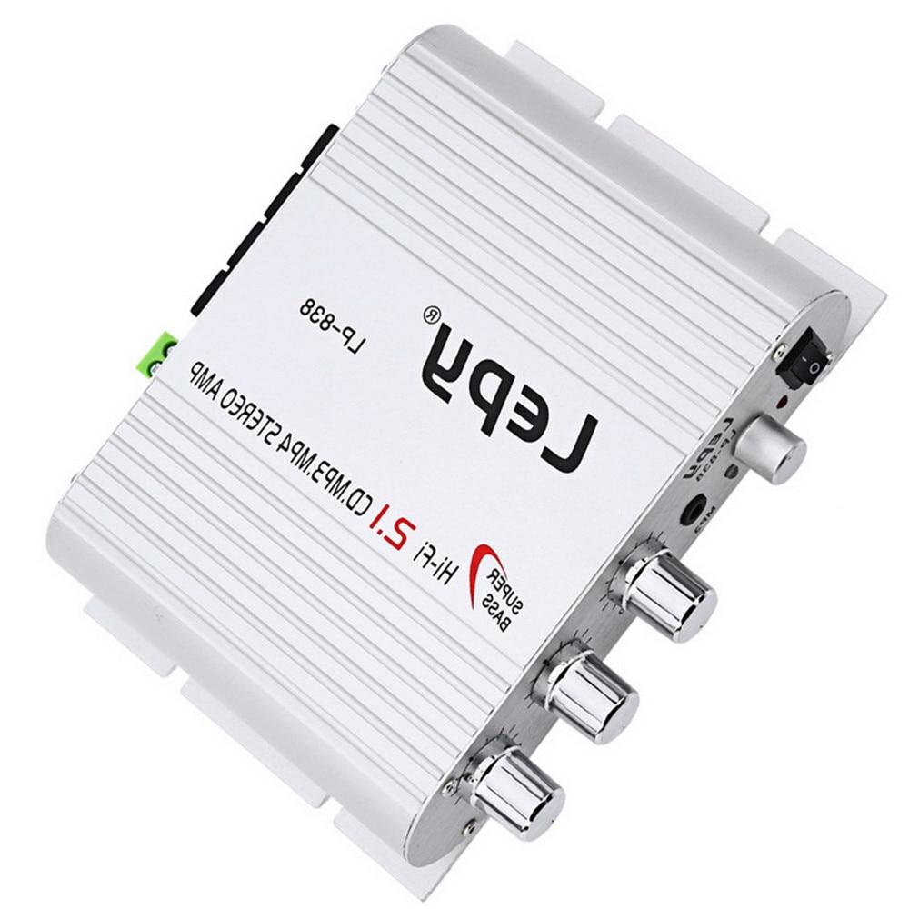 Car HI-FI Digital Amplifier LP-838 DC12V 20W Mini USB FM CD MP3 Player Car Accessories 2.1 Channel