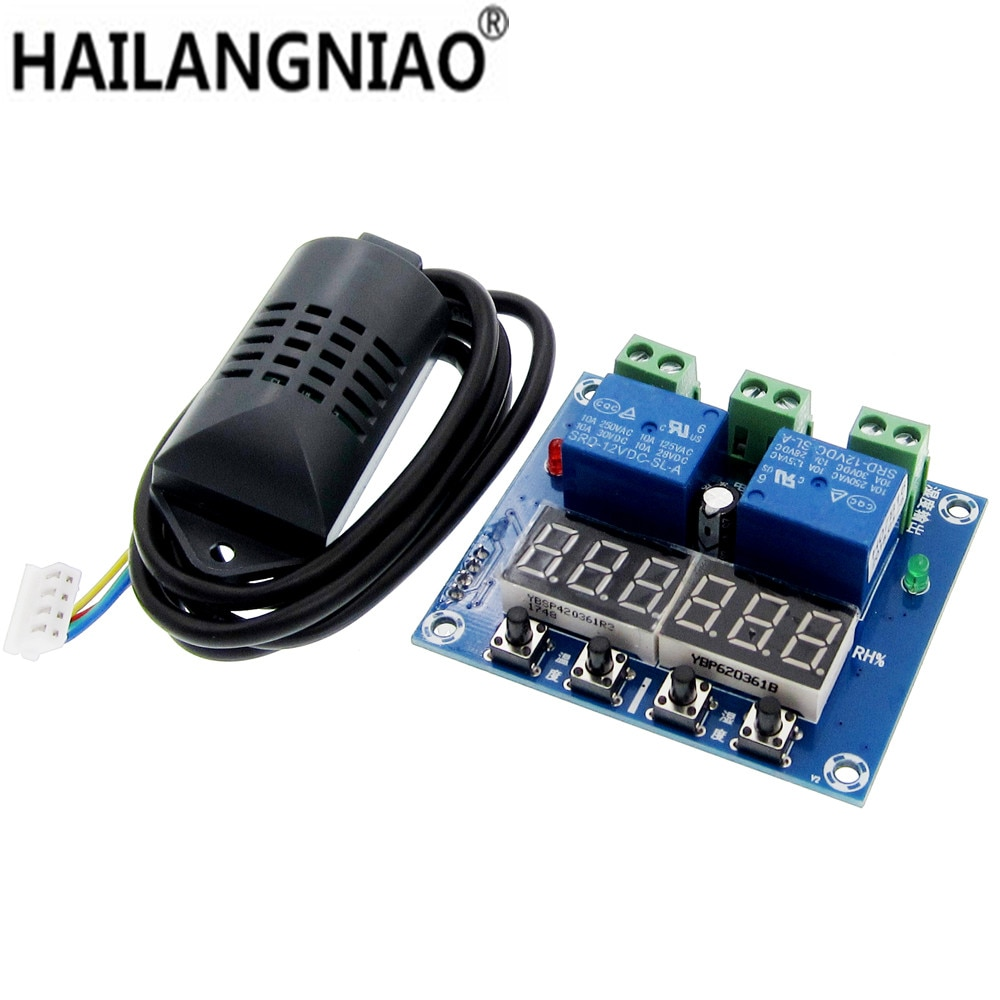 XH-M452, cc 12V, Termostato Digital LED, termómetro con Control de temperatura y humedad, controlador de higrómetro, módulo de relé, sonda AM2301