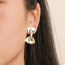Timlee E163 nouvelle originalité doux arc pliant sucre papier alliage goujons boucles doreilles mode bijoux en gros
