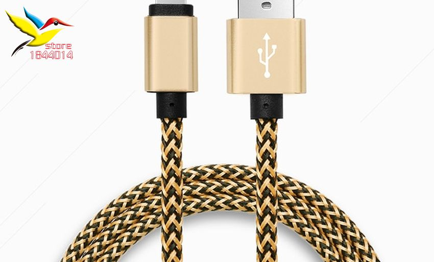 1M 2m 3m تويست النايلون المغطاة مزين USB كابل ل فون 7 6 7s 6S زائد 5 se باد برو الهواء مزامنة بيانات شاحن لالروبوت 50 قطعة