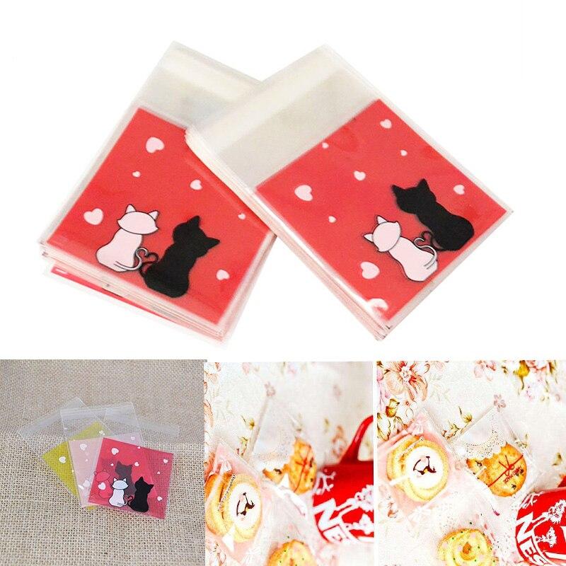 50/100 sztuk/partia cukierki opakowanie na ciasteczka prezent plastikowe przezroczyste słodki kociak samoprzylepne etui na wesele na urodziny i bociankowe 8z