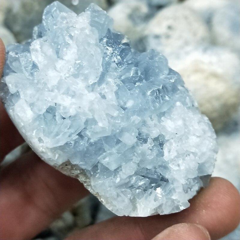 50-200g natural celestine geode de bebé azul celestine grupo Rock piedras y minerales chakras y Reiki curación casa Decoración