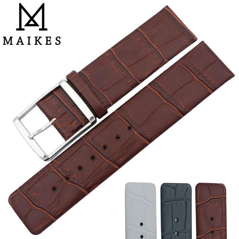 MAIKES, recién llegado, correa de reloj de cuero auténtico, 16mm, 18mm, 20mm,...
