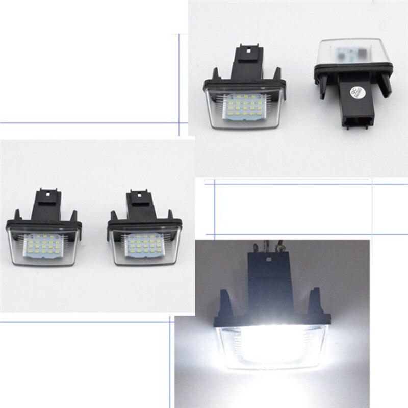 2 uds LED luces para placa de matrícula lámpara para Peugeot 206/207/307/308 Citroen C3-C6