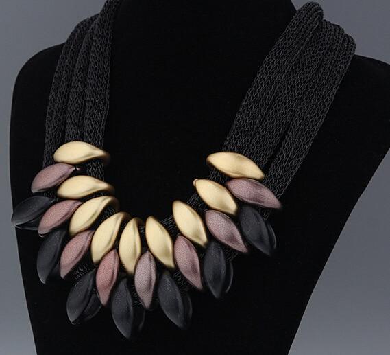 Ahmed marca de jóias colar de declaração feminino geométrico tecido mão colares & pingentes malha curto colar atacado presente