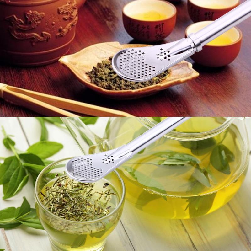 Stainless Steel Drinking Straw Spoon Tea Filter Yerba Mate Tea Straws Bombilla Gourd Reusable Tea Tools Bar Accessories
