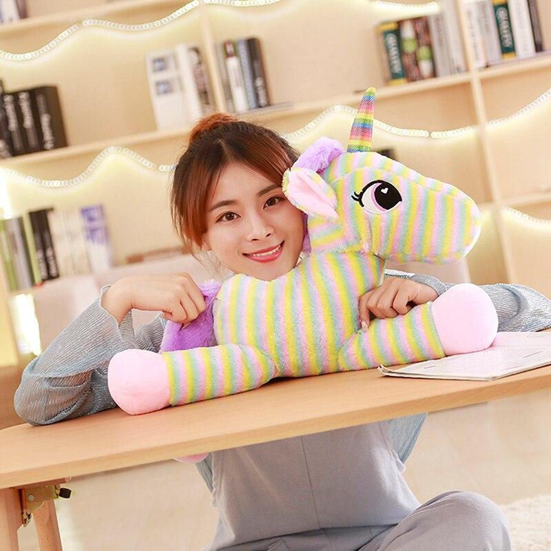 2018 Rainbow Bonito Unicórnio animal 30 cm e 40 cm de pelúcia macia toy Boneca para crianças presente de aniversário colorido quente brinquedo