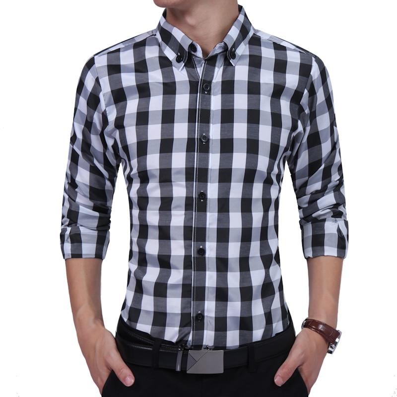 2019 Autumn Fashion Brand Men Clothes Slim Fit Long Sleeve Shirt Plaid Cotton Casual business S-XXL