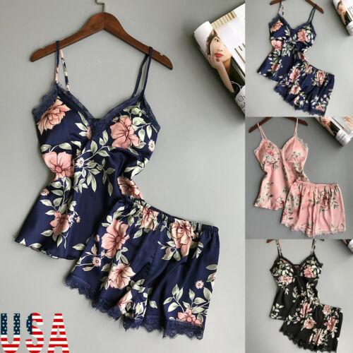 New Fashion Women's Sexy Floral Print Sleepwear Satin Silk Lace Nightwear Pajamas Set Sleeveless Tops and High-waist Shorts S-XL