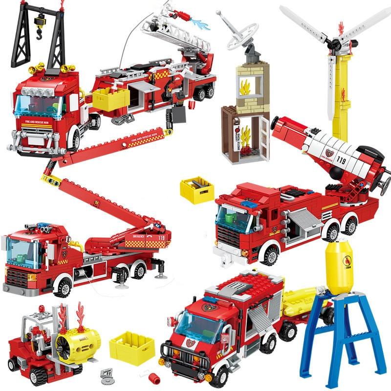City Fire Rescue Fighter Ladder Engine Truck Building Blocks Sets Creator Figures Brinquedo Bricks Educational Toys for Children