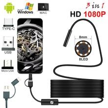 Cámara endoscópica de 8,0mm, de inspección boroscopio impermeable con Cable de 1/2/5M, 8 LED, 1080P, HD, USB, para Android y PC