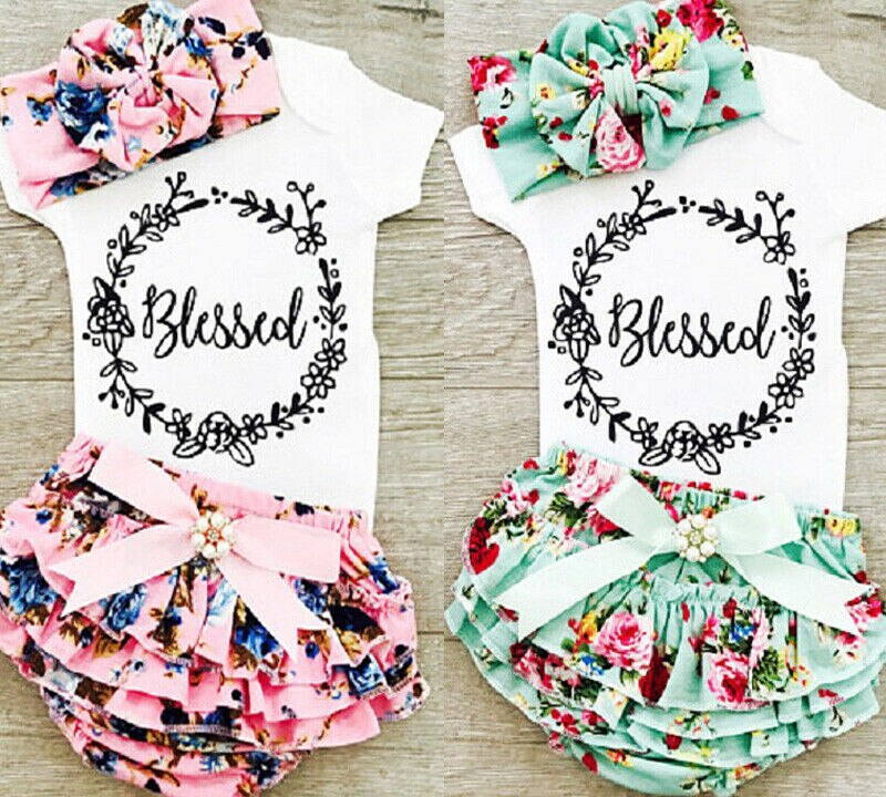 0-18M Neugeborenen Baby Mädchen Baumwolle Tops Strampler Floral Shorts Stirnband Outfits Set Sommer Kleidung UNS Lager
