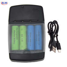 4 slots Smart USB Battery Charger for Rechargeable Battery AA AAA AAAA 1.5V Alkaline 14500 10440 16340 10440 3.2V LiFePo4 charge