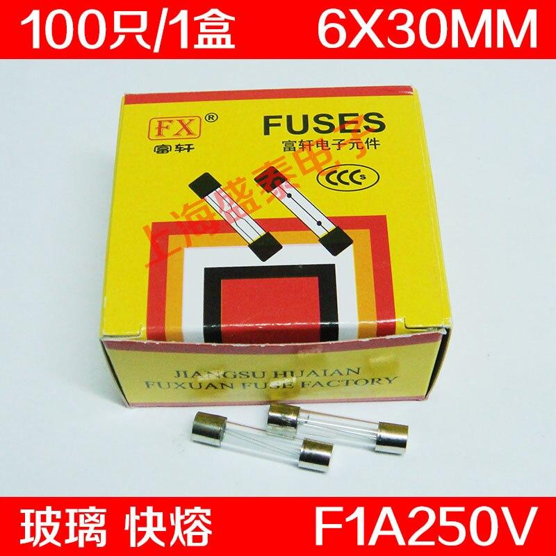 F1AL250V Glass Insurance Tube F1A250V F1A Fuse 1A 6X30MM 100  PCS