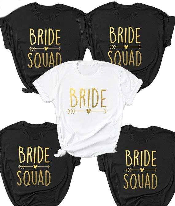 Despedida de soltera novia fiesta camisa novia Squad flecha corazón camiseta femenina eslogan Tops grunge Girl Squad Tee novia Squad pareja top