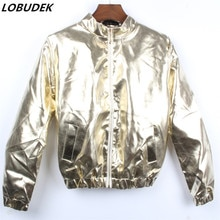 Fala mężczyzna skórzana kurtka płaszcz złoto srebro mody osobowości mężczyzn baseball odzieży wierzchniej klub nocny prom piosenkarka kostiumy sceniczne strój