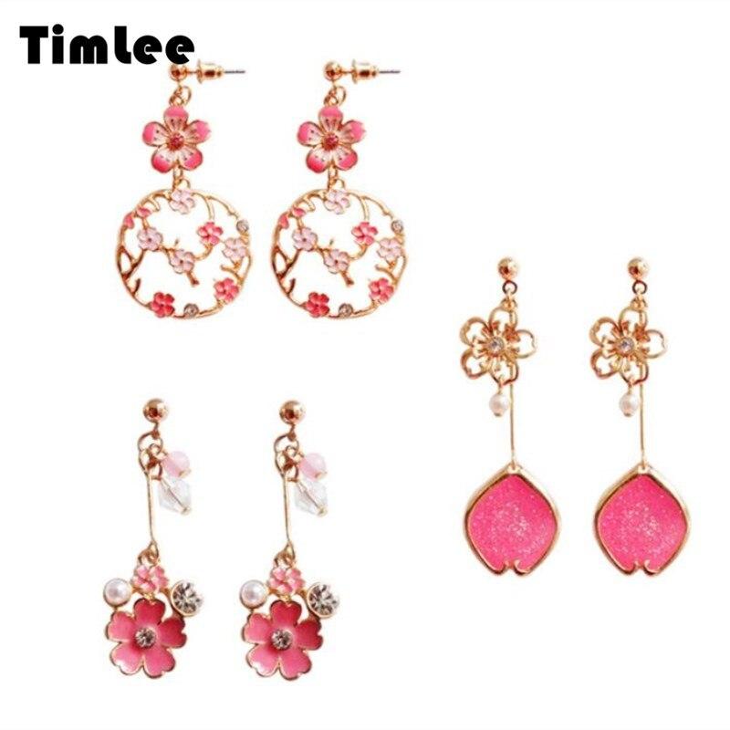 Timlee E261 New Originality Fashion Petal Cherry blossoms Flower Imitation Pearl Alloy Drop Earrings Wholesale