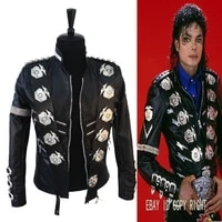 rare mj michael jackson classic bad jacket with silver eagle badges punk matel exactly same high fashion collection show gift