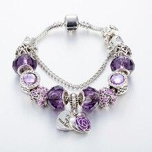 ANNAPAER Lila Kristall Perlen Armbänder & Armreifen Herz Familie Charme Armband für Frauen Schmuck Geschenk Mutter Tag Geschenk B16068